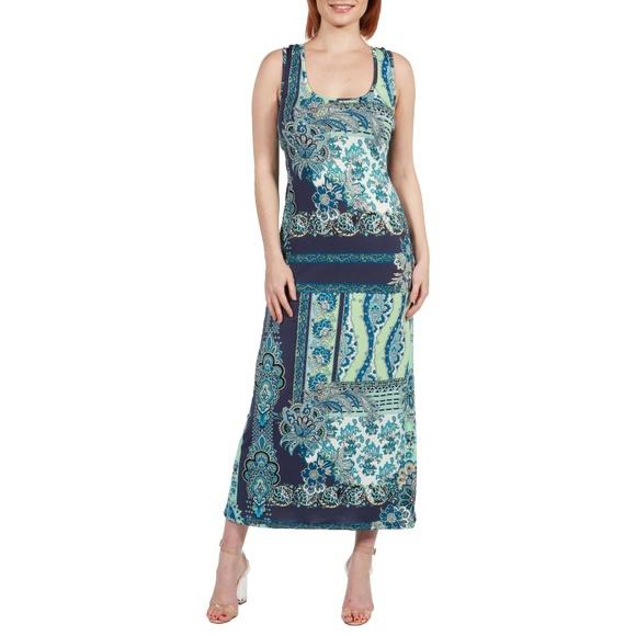 c33792e0250 24Seven Comfort Apparel Renee Blue and Green Maxi